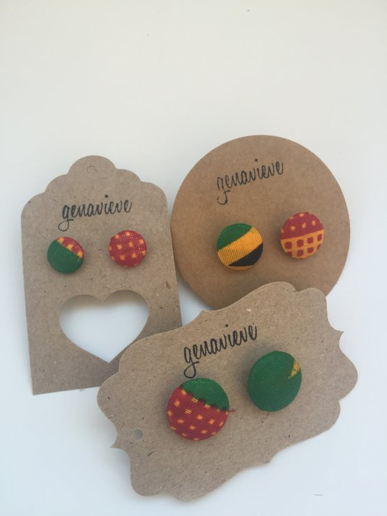 Earrings- Shweshwe- Red, Yellow and Green by All Things Shweshwe