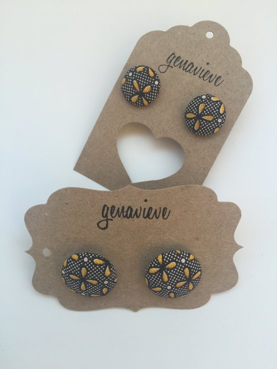 Earrings- Shweshwe- Brown and Yellow by All Things Shweshwe