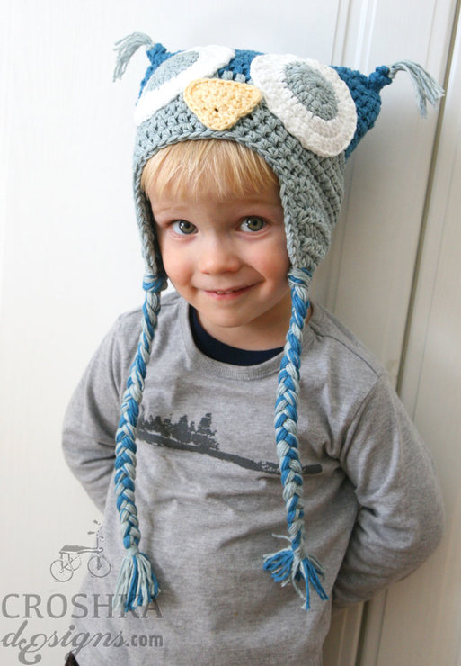 Handmade crochet owl hat with tassels - as featured in Bella Magazine May issue by Croshka Designs