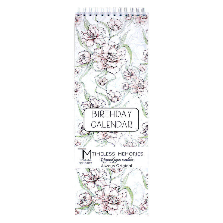 Long birthday calendars Cream camelia by Timeless Memories