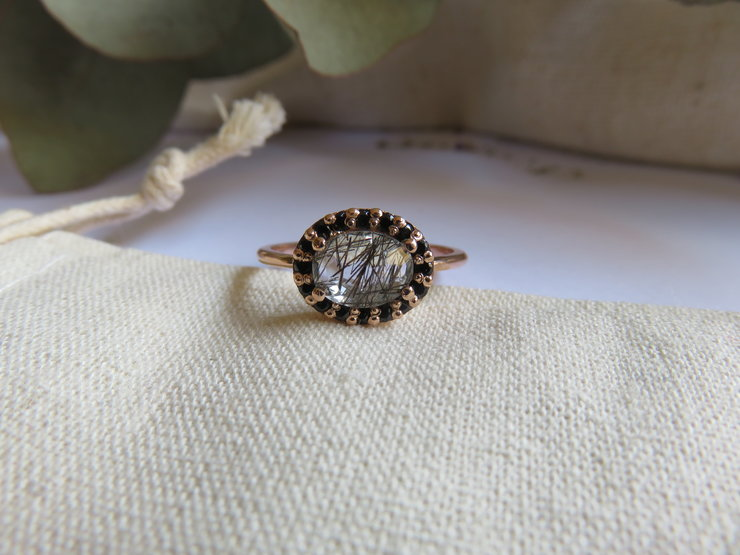 Oval Rutilated Quartz with Black Spinel Halo in 9ct Rose Gold by Mignon Daubermann Jewellery Design
