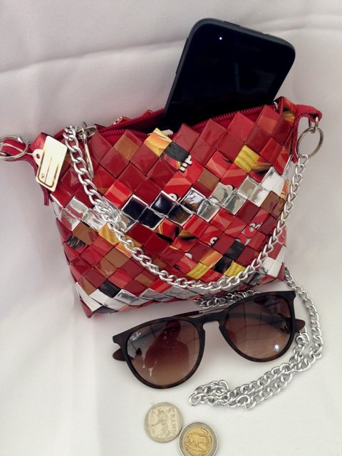 Upcycled Chip Wrapper Sling Bag by ZuluGal Retro