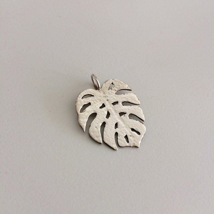 Handmade Sterling Silver - Monstera Deliosa Textured Pendant  by Jessica Jane Jewellery