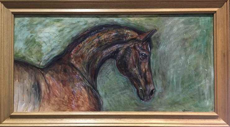 Big Horse Painting Oil On Board Wooden Frame
