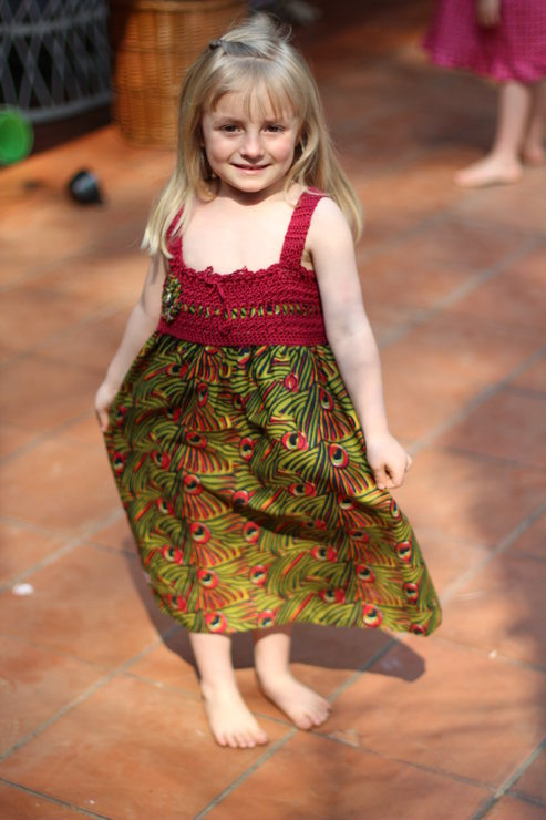 Age 4 - 5 peacock print dress with crochet top for girls by JaxStar Handmade Clothing and Home