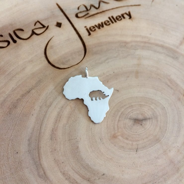 Handmade Sterling Silver : Rhino Pendant by Jessica Jane Jewellery