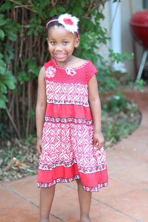 Red and white light cotton summer dress Age 5 - 6 by JaxStar Handmade Clothing and Home
