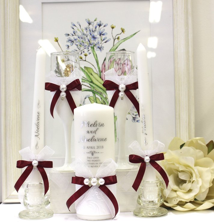Burgundy Pearl embossed wedding candle set   by Timeless Memories