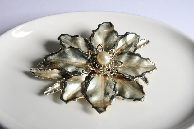 Large silver toned flower brooch with pearl centre  by VKG