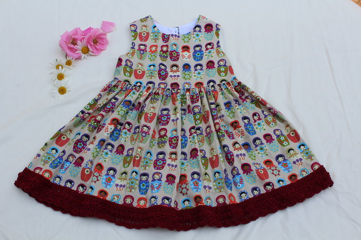 42e15808d42f8 Beautiful cotton dress for little girls with hair-clip by JaxStar Handmade  Clothing and Home