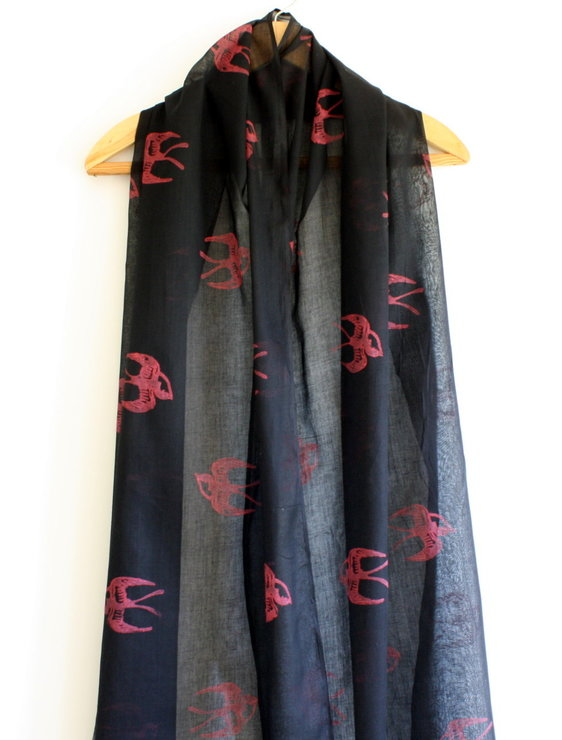 Red swallows on Black hand block printed Indian cotton scarf/shawl by Kerry Cherry Designs and Prints