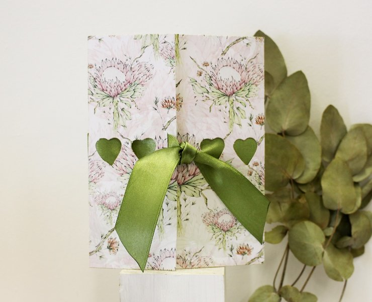 Pack 5  INVITATIONS-Protea in Fynbos by Timeless Memories