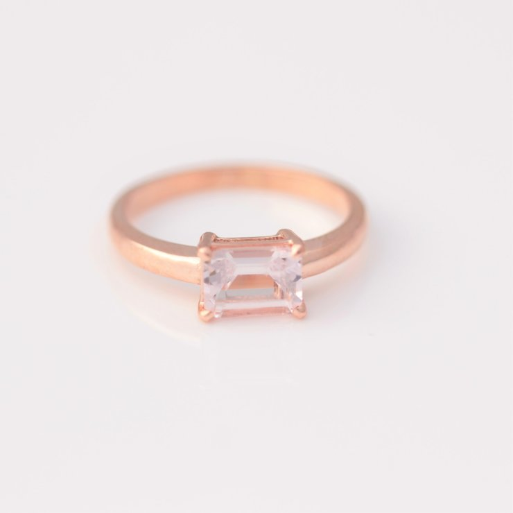 Emerald Cut Morganite Solitaire Ring by Clayton Delville - Fine Gemstones and Jewellery