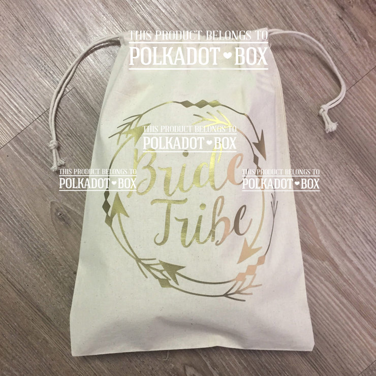 Bride tribe gold metallic drawstring bag by Polkadot Box