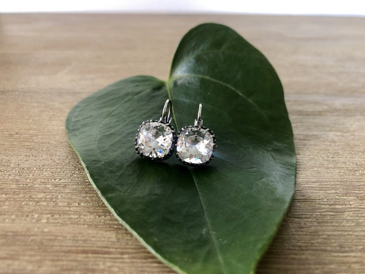 Clear Swarovski cushion crystal (10mm) Earrings (Hypoallergenic)