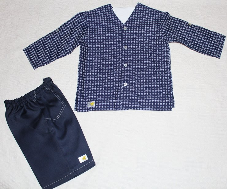 Blue African shirt with matching trousers Age 3-4 by JaxStar Handmade Clothing and Home
