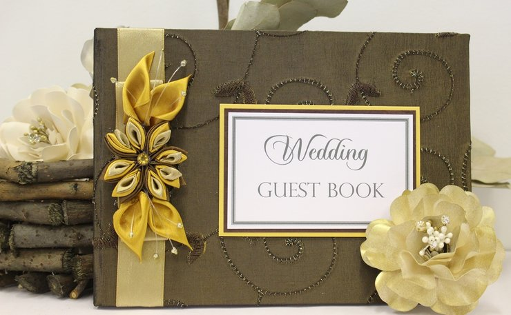 Guest Book-Bronze fabric by Timeless Memories