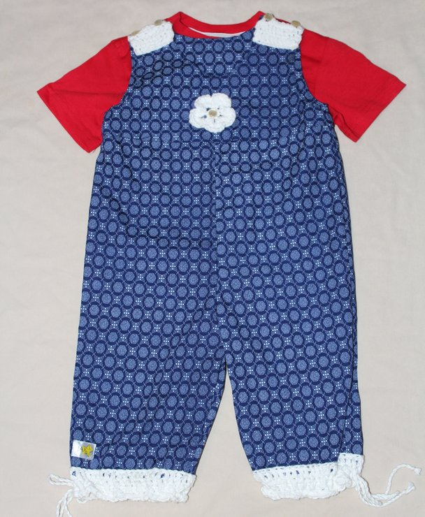 Navy And White African Print Cotton Dungarees For Baby Hello