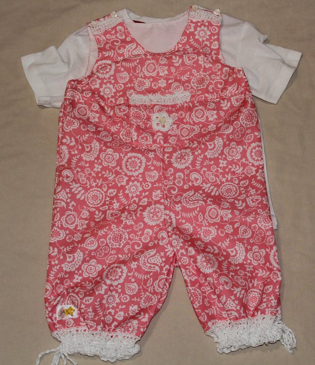 Pink girls dungarees with crochet trims by JaxStar Handmade Clothing and Home