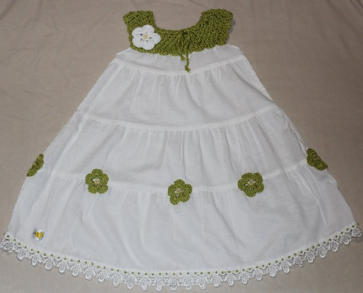 White Cotton Dress With Crochet Top And Crochet Flowers For Baby