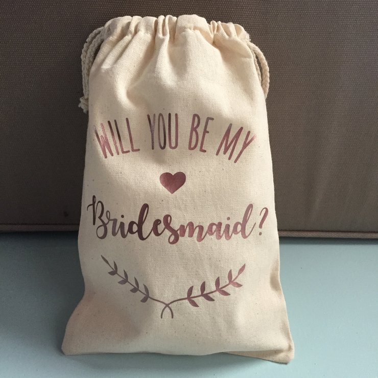 Custom Bridesmaid Drawstring Bag   by Polkadot Box