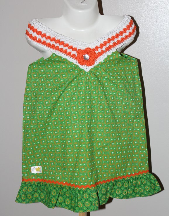 Green African print  with crochet V-neck dress for girls Age 3-4 by JaxStar Handmade Clothing and Home