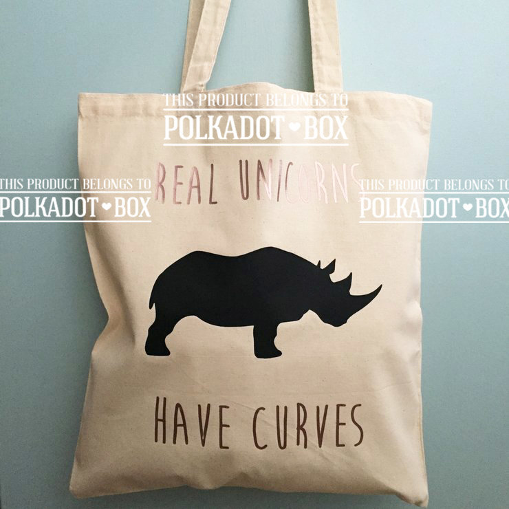 Unicorns have curves rose gold & black tote bag by Polkadot Box