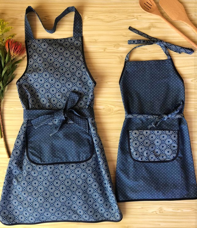 Mommy And Me Aprons Mother And Daughter Mommy And Me Set Indigo Blue Apron Personalized Aprons Full Cotton Apron African Print