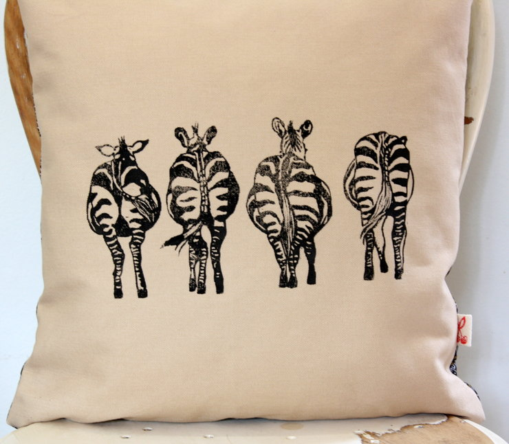 Zebra bums hand block printed decorative scatter decor cushion cover by Kerry Cherry Designs and Prints