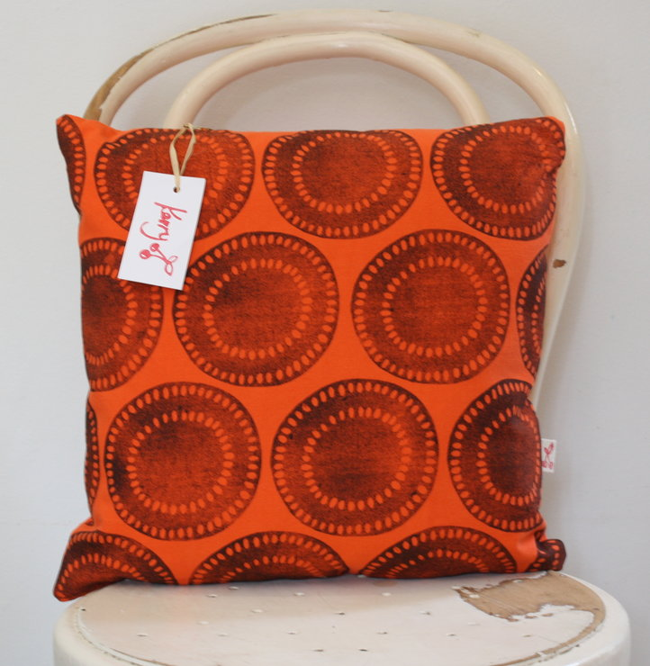 hand block printed decorative scatter cushion cover in orange by Kerry Cherry Designs and Prints