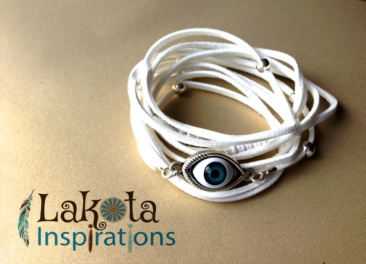 White Eye of Protection 3-in-1 Bracelet/Necklace/Anklet by Lakota Inspirations