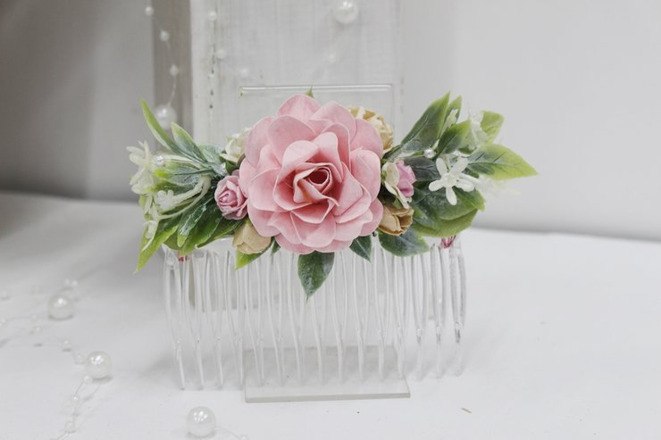 Hair comb-03 pale pink and ivory by Timeless Memories