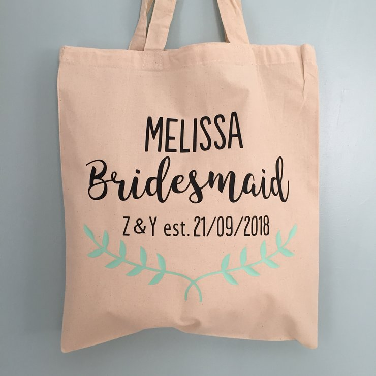 Custom Bridesmaid Tote Bag by Polkadot Box