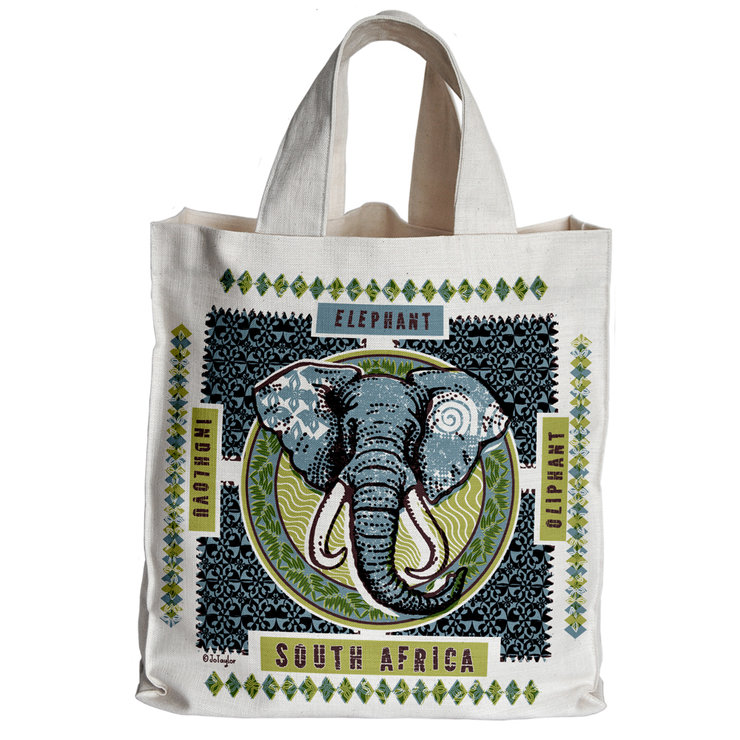 'Indhlovu' Tote Bag retro blue by The Natural Hand