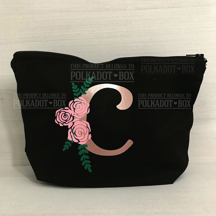 Custom Initial Make up Bag (email us the initial) by Polkadot Box