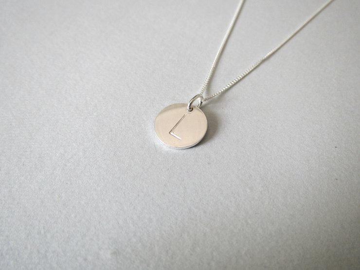 Sterling Silver Initial Disc Pendant ONLY by Liwo Design