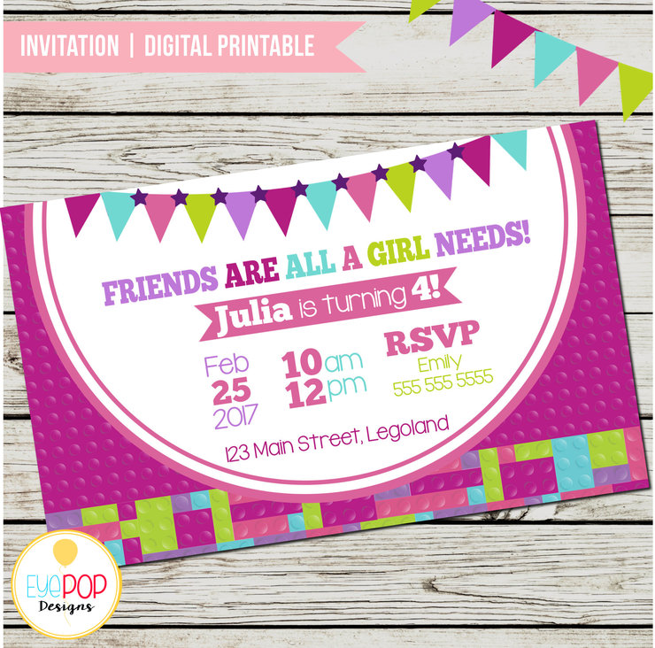 LEGO FRIENDS INSPIRED Birthday Invitation Lego Friends Party Blocks Digital Printable By EyePop