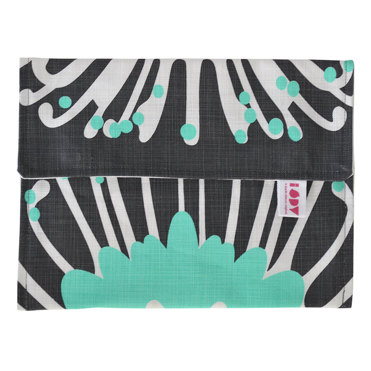 """Giant Pin"" iPad cover in aqua and charcoal by i Spy"