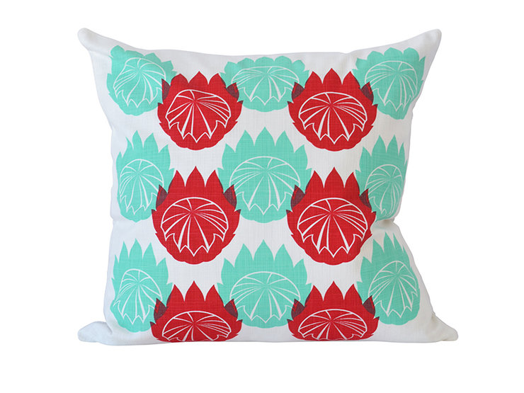 """Retro King"" cushion cover in raspberry and aqua by i Spy"