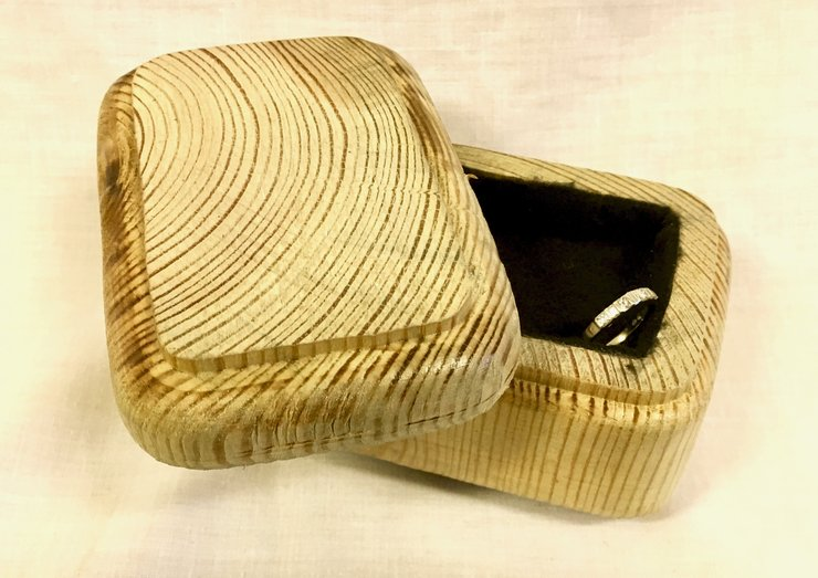M + S Designs - Wooden Jewellery/Ring Box  by The Art of Creativity Studio