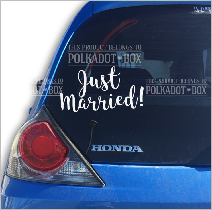 Just Married Car Decal by Polkadot Box