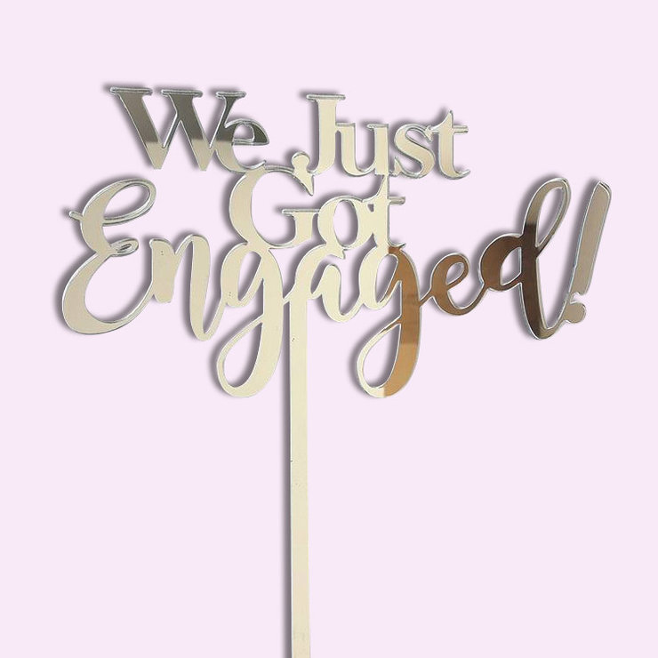 We got engaged Cake topper - wood or acrylic by Polkadot Box
