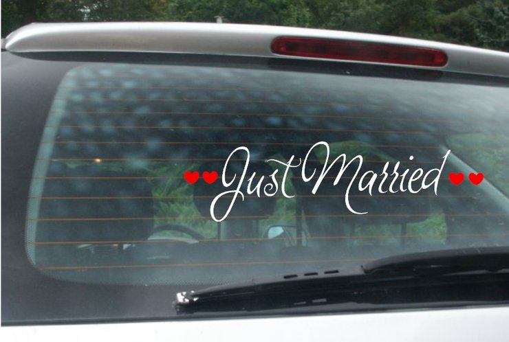 Just Married Car Decal / Car sticker by Glitter Bug SA