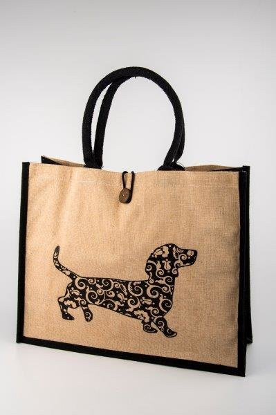 Black/Beige Bag with Floral Dachshund  by Long Dog