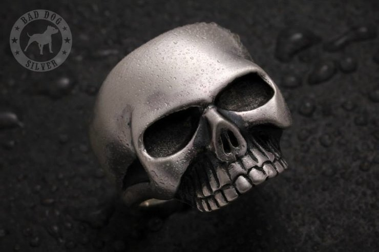 Keith Skull Ring by Bad Dog Silver