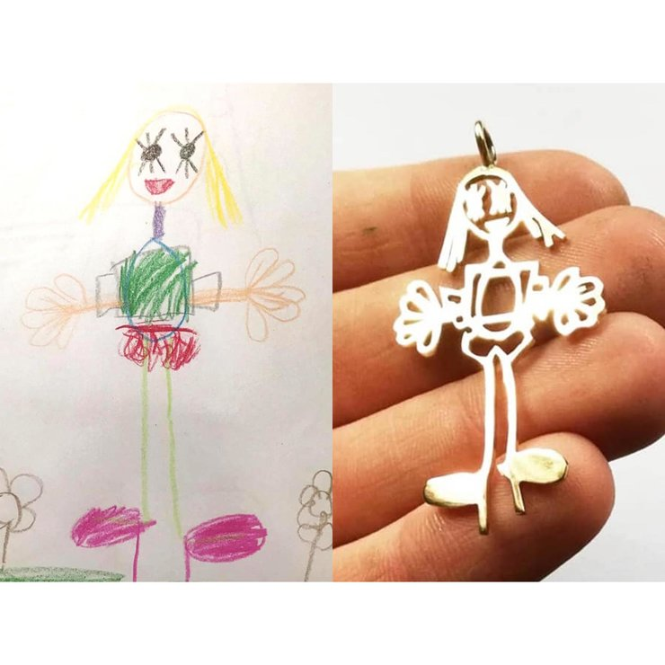 CUSTOM KIDDIES ART Pendant in Silver by Miss H Jewellery Design