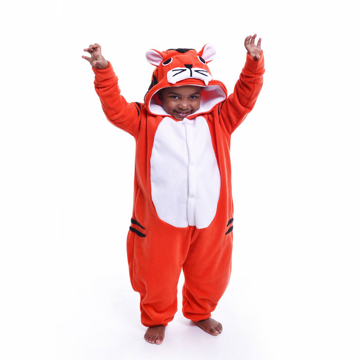 Kids Animal Onesie Orange Tiger Jumpsuit Costume