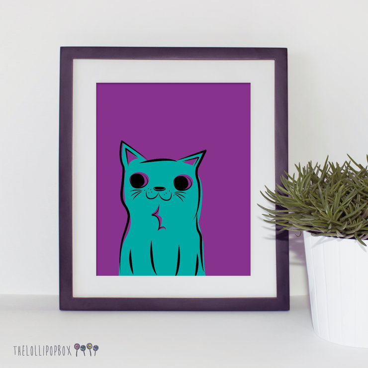 Kitty Kat (purple/mint) by the lollipop box