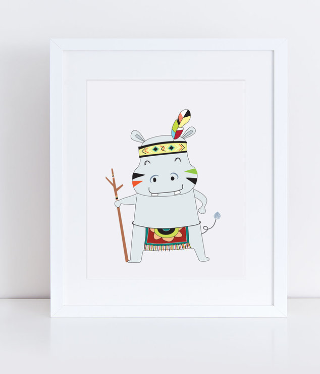 Kubu the Hippo - Print by PandaLove