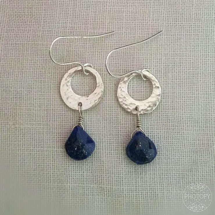 Sterling silver hammered disc with lapis lazuli earrings by GloveJewellery